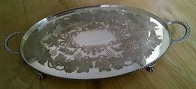 Large Viners Oval Chased Silver Plated Serving Tray on Claw Feet with Handles