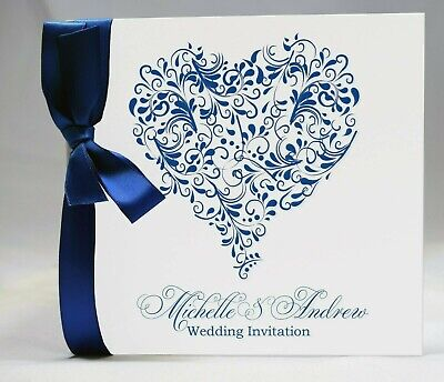 Personalised Wedding Invitations - Isabelle Heart - ribbon day/evening envelopes