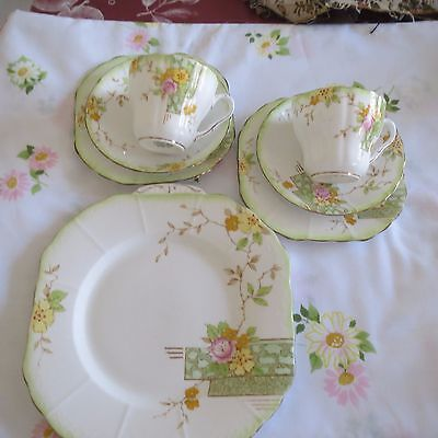 Vintage Trios X 2  And Matching Cake Plate  Melba Bone China England
