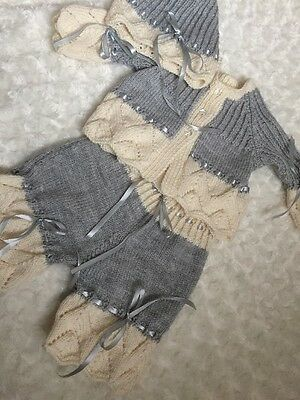 """New: Pretty Hand Knitted 3 Piece Outfit  For 24"""" Reborn Baby Girl"""