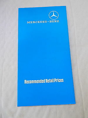 Mercedes Benz Recommended Retail Price Brochure dated 29th July 1974