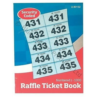 Raffle Cloakroom Ticket Book | 1000 Tickets SECURITY CODED Tombola Postage Disc.