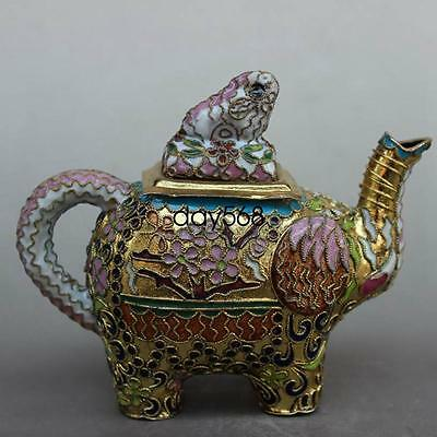Collection old Chinese Cloisonne enamel handwork Elephant teapots LJ575
