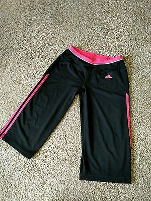 Women's Adidas Climalite Yoga Workout Pants Black with pink stripes Medium