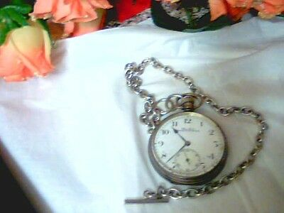 Vintage 1923.solid Silver Full Size Gents Pocket Watch& Silver Watch Chain Works