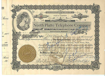 North Platte Telephone Company, 1909 Stock Certificate #16