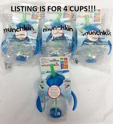 x4 Munchkin Click Lock Weighted Flexi Straw Trainer Cup -Blue- 7 Ounce