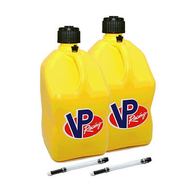 2 Pack VP Racing Yellow 5 Gallon Square Fuel Jug/2 Deluxe Hoses/Water/Gas Can