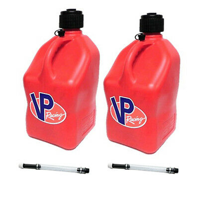 2 Pack VP Racing Red 5 Gallon Square Fuel Jug/2 Deluxe Hoses/Water/Gas Can