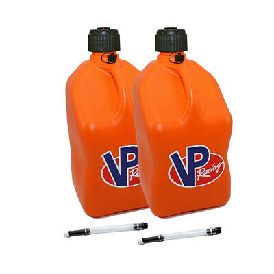 2 Pack VP Racing Orange 5 Gallon Square Fuel Jug/2 Deluxe Hoses/Water/Gas Can