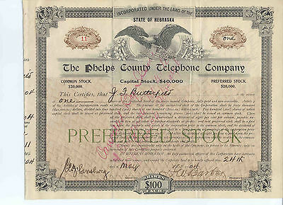 The Phelps County Telephone Company, 1904 Preferred Stock Certificate #11