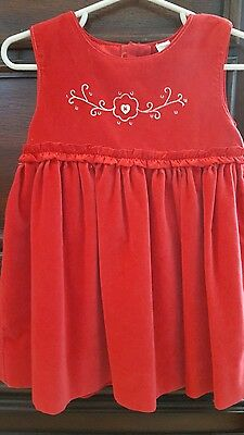 Baby gap red smocked holiday dress size 18-24 months