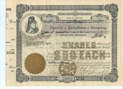 Central Telephone Company, 1901 Stock Certificate #152