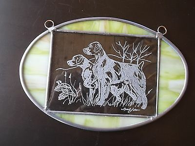 Brittany- Beautifully hand engraved and stained glass panel  by Ingrid Jonsson