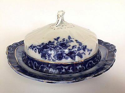 Henry Alcock & Co Touraine Flow Blue Semi Porcelain Covered Butter Dish England