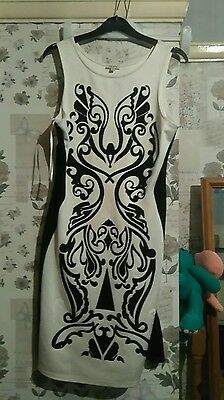 river Island dress white and black size 16