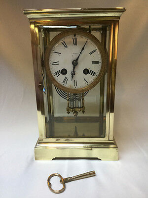Antique French Brass Mantel Clock with Mercury Pendulum