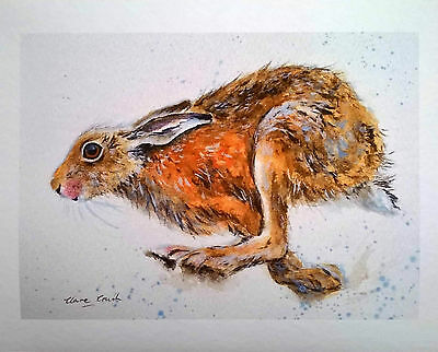 FINE ART GICLEE PRINT of my original watercolour painting, HARE by Clare Crush