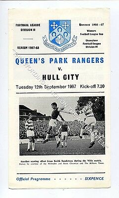(Ga5193-469) Queens Park Rangers vs Hull City League Cup 2nd Round 12/9/1967 VG+