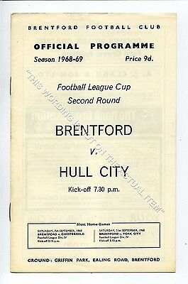 (Ga5197-469) Brentford vs Hull City League Cup 2nd Round 4/9/1968 VG-EX