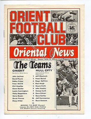 (Ga5209-469) Leyton Orient vs Hull City League Cup 2nd Round 31/8/1976 VG