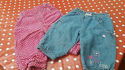 Baby Girls Trousers Size 3 To 6 And 9 To 12 Months