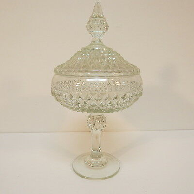 Indiana Glass Diamond Point Glass Compote Pedestal Candy Dish