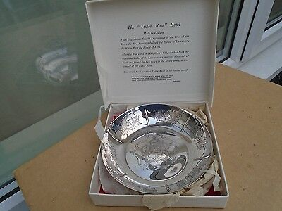 the tudor rose bowl    lovely english silver plate bowl with original box