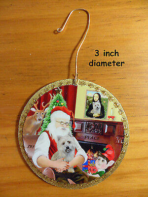 Ornament-Designed/Made by artist - Santa with his Wheaten Colored Cairn Terrier