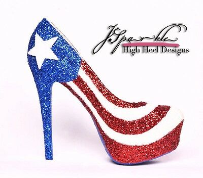 Puerto Rican Flag Custom High Heels Glitter