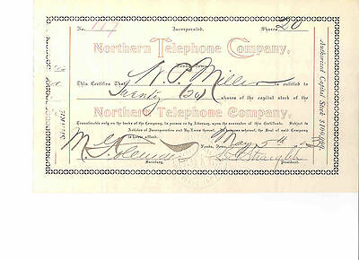 Northern Telephone Company, 1903 Stock Certificate #117