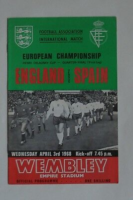 ENGLAND V SPAIN EUROPEAN CHAMPIONSHIP PROGRAMME WEMBLEY APRIL 8th 1968.