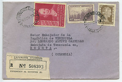 1954 Argentina Cover - Registered to Bogota, Colombia, sc# 626, 443, 606