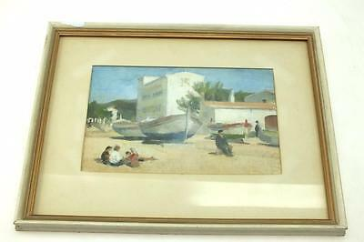 20thC Coastal Shipping oil on Board Painting - Spanish Coastal Picture -  Framed