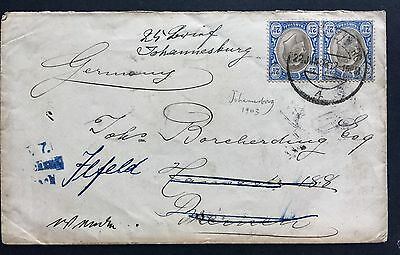 Transvaal Cover Johannesburg To Germany 1903 South Africa