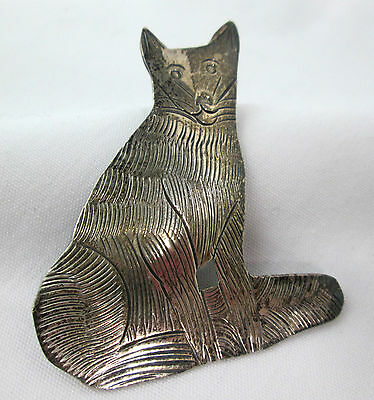 "Sitting Fox Brooch Vintage Sterling Silver 2"" size etched detail"