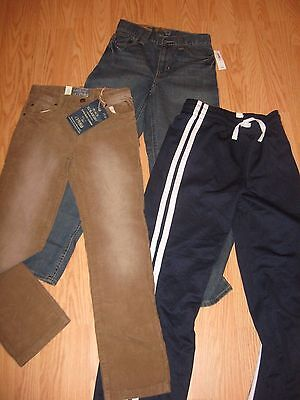 Lot of 3 BOYS PANTS: TCP Old Navy Jeans Corduroy Athletic Size 12 Slim New NWT