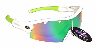 RayZor Uv400 1 Piece White Vented Blue Green Mirrored Cricket Sunglasses RRP£49