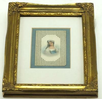 Victorian Miniature Picture - Watercolour Painting in Gilt Glazed Frame C1900
