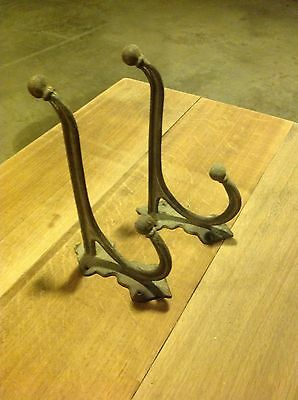 "Pair 9"" Vintage Style Large Cast Iron Hook Coat Hanger Steam Punk Rustic Decor"