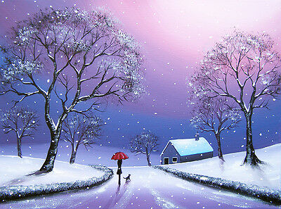 SARAH FEATHERSTONE ORIGINAL SIGNED CANVAS OIL PAINTING, Walk In The Winter Snow