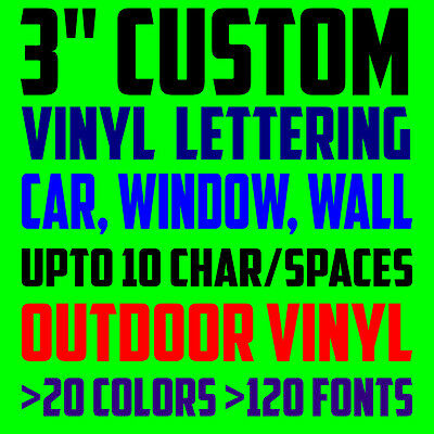3 custom vinyl lettering text personalized car window laptop wall decal sticker