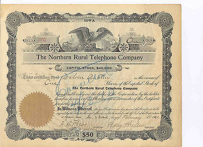 The Northern Rural Telephone Company, 1910 Stock Certificate  357