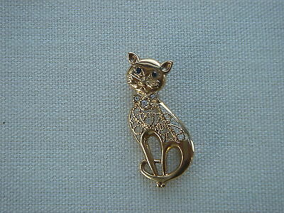 9ct Gold    Cat Brooch