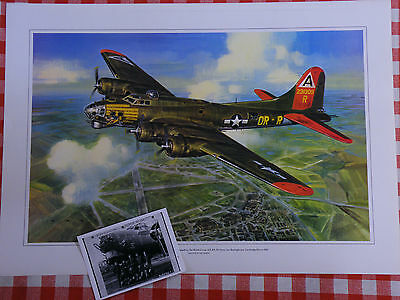 B17 Flying Fortress USAF 8th AF WW2 aviation art print with free crew photo