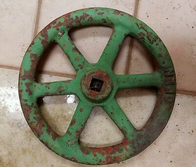 "OLD VINTAGE STEEL STEAMPUNK 9"" RED Green WATER STEAM SHUT OFF VALVE HANDLE METAL"