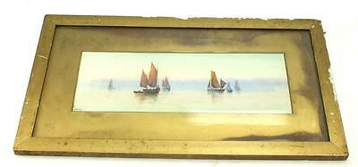20thC Watercolour Painting Coastal Ships - Seascape Picture - Framed & Signed