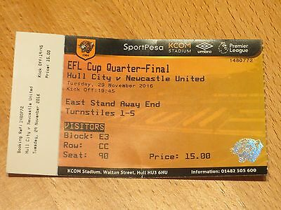 Hull City v Newcastle United ticket - EFL Cup 2016/17