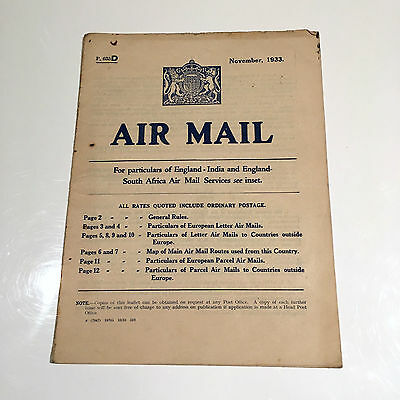 Airmail Timetable November 1933 England - India/south Africa