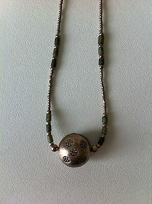 Karen Silver Thailand Tribal Necklace Bead Embossed Charms